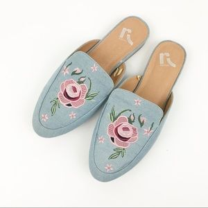 Report | Chambray Floral Embroidered Mules 10